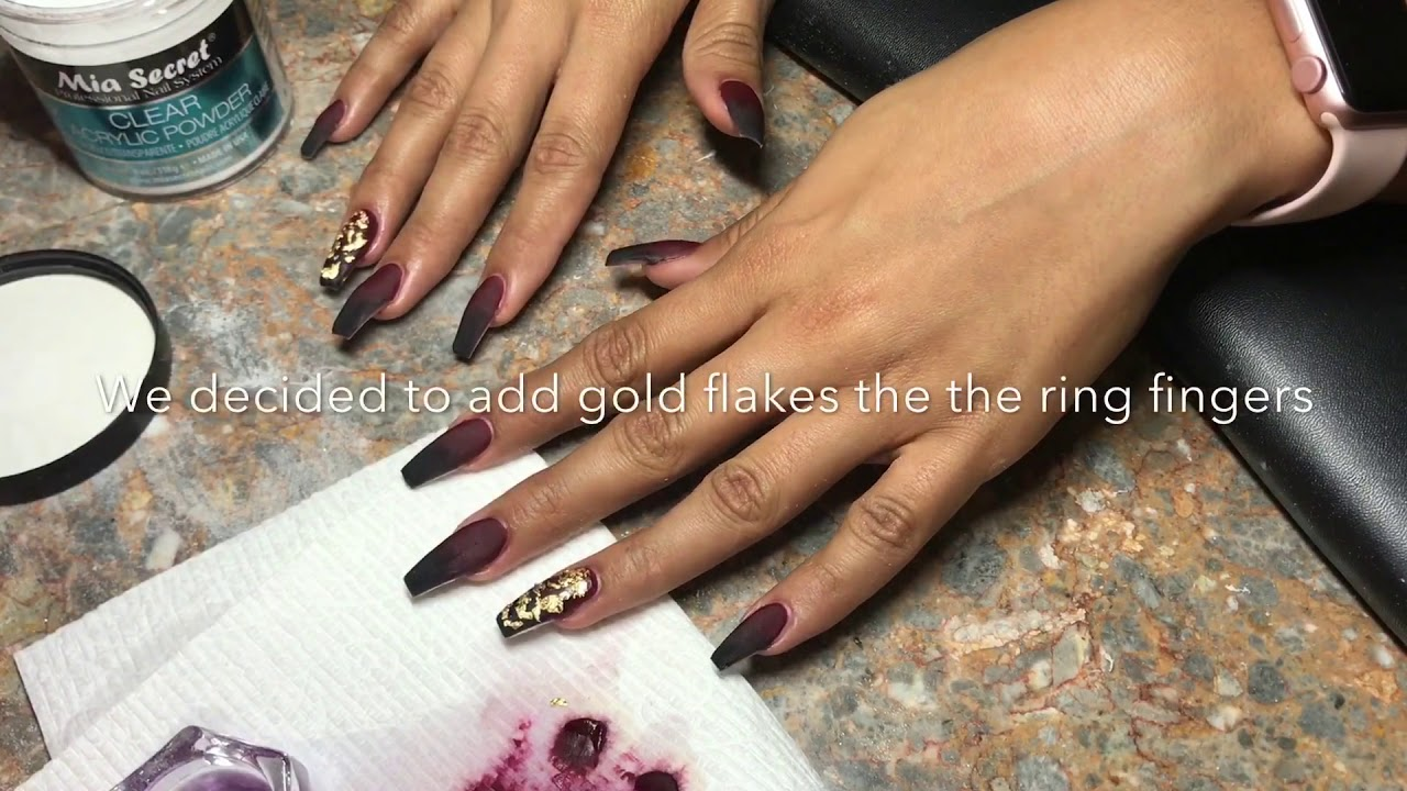 Black & maroon ombré nails! - YouTube