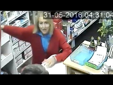 Women beat armed robber out of their pharmacy