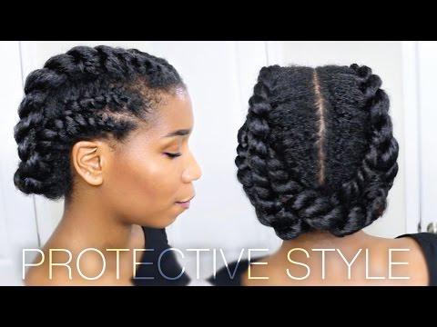 Edgy Twisted Office + Gym Protective Natural Hairstyle | Work Out