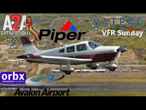 FSX Crossing Port Phillip Bay, A2A Piper PA28 Virtual-HTM leaving Avalon Airshow to Moorabbin