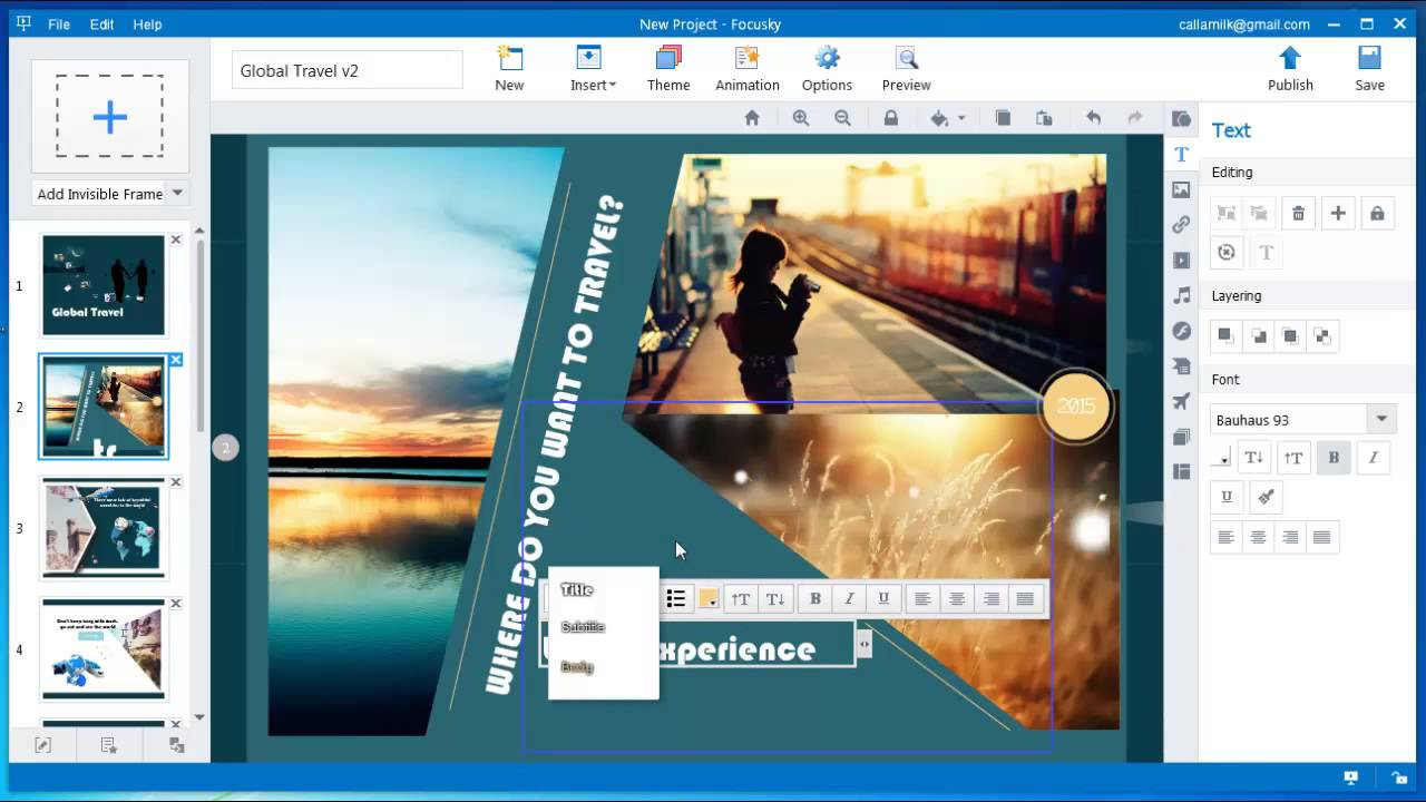 using free presentation program focusky for travel sharing youtube