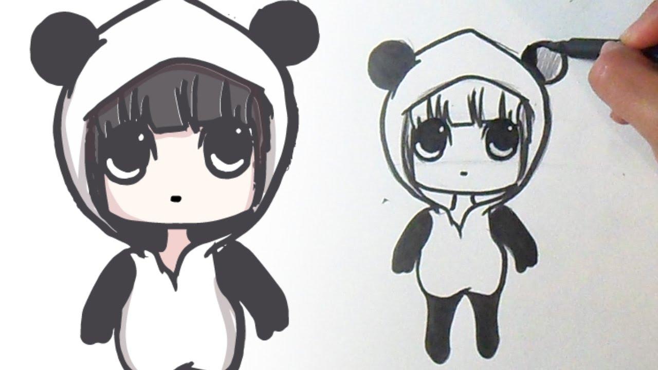 Cómo Dibujar Chica Panda Kawaii