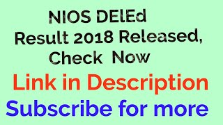 Nios D.el.ed Result September 2018