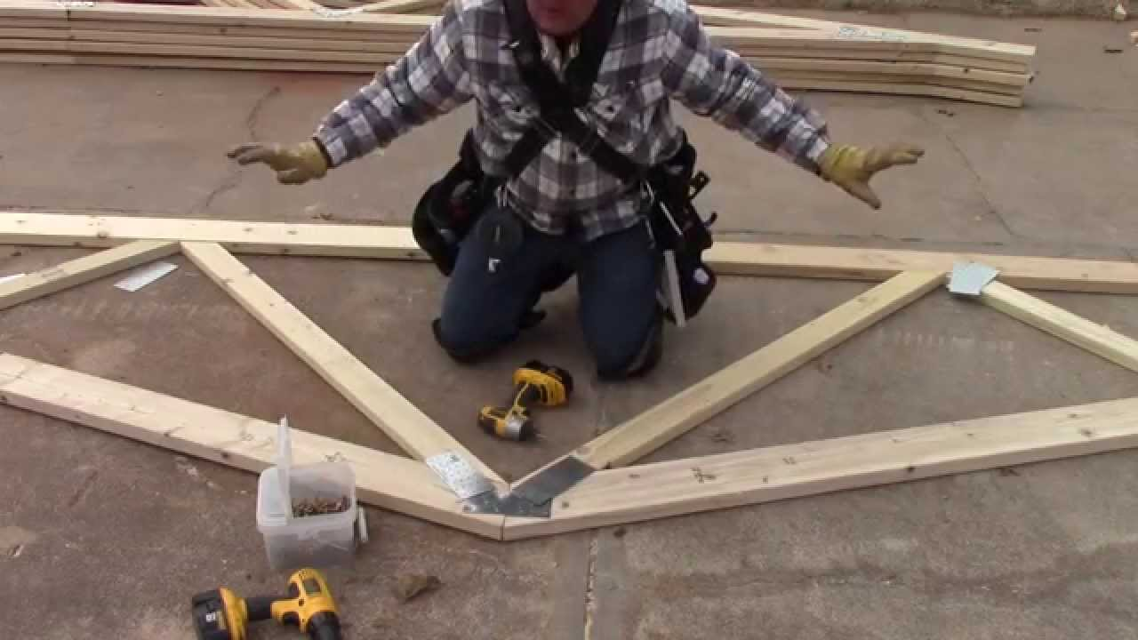 How to build a pole barn building the trusses youtube for Build your own pole barn