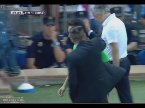 Atletico Madrid vs Real Madrid Diego Simeone Slap vs Referee -- [23.08.2014]