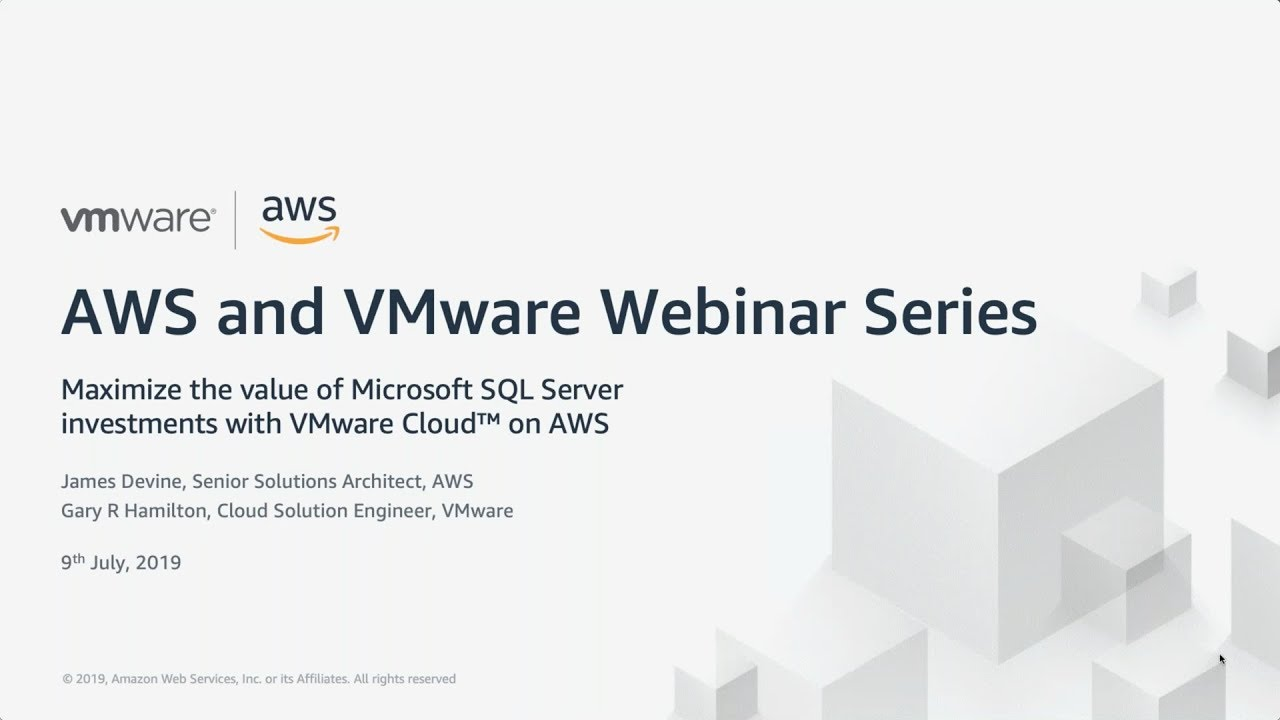 Modernize Your SQL Server Environment with VMware Cloud on AWS