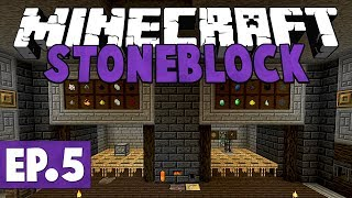 Minecraft StoneBlock - Base Upgrade & Tinkers Tools! #5 [Modded Questing Survival]