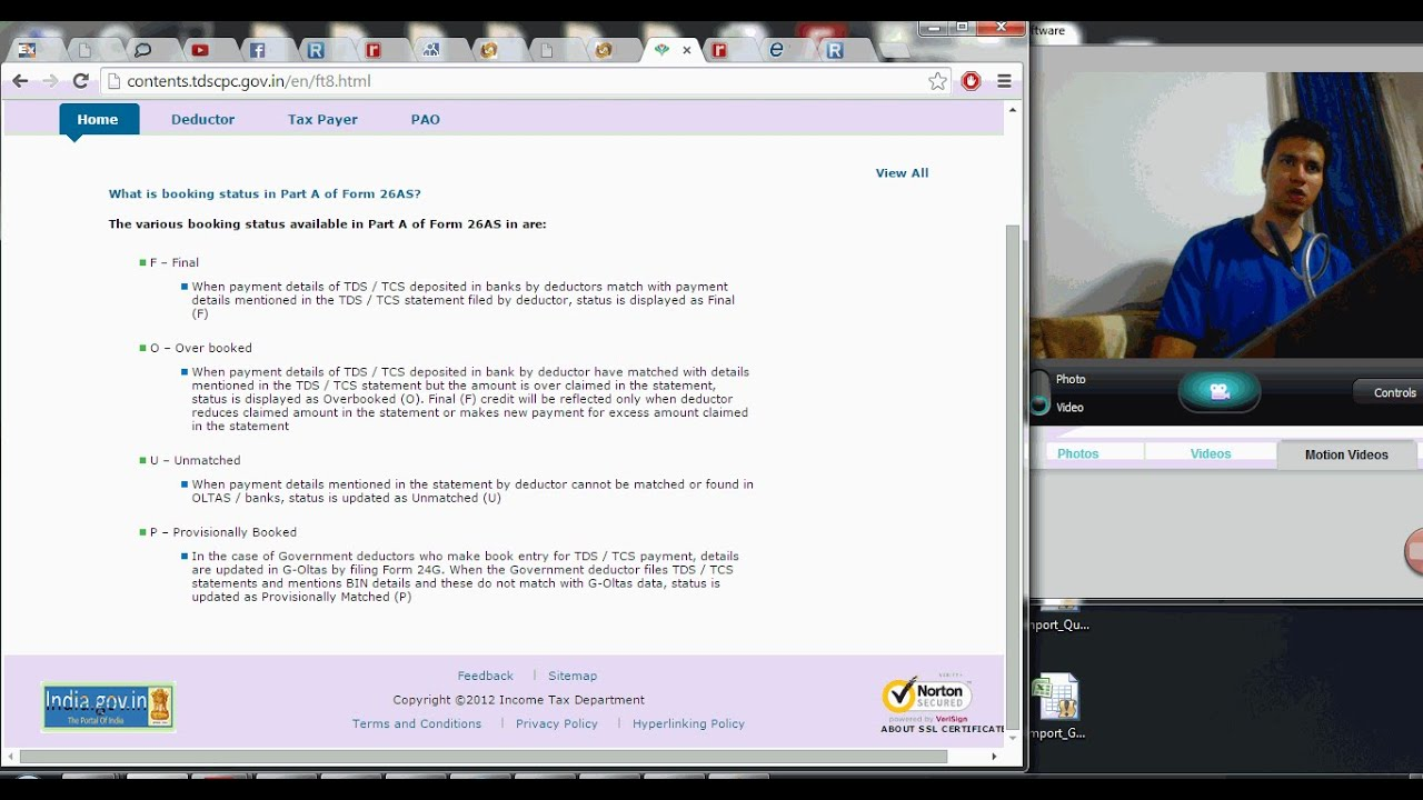 1038 (Income tax) What is status of Booking in tax credit statement (26 AS)?