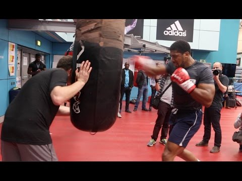 RAW POWER! – ANTHONY JOSHUA SMASHES THE HEAVY BAG – AS ROB McCRACKEN TALKS HIM THROUGH