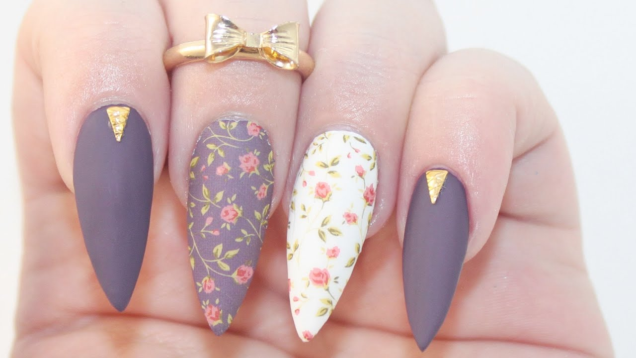 HOW TO: Matte Dark Floral Acrylic Nails - YouTube