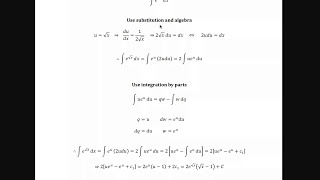 integrate e raised to the square root of x dx using substitution and integration by parts