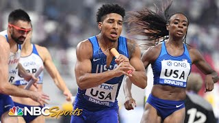 Team USA sets world record in mixed 4x400 relay, advances to finals | NBC Sports