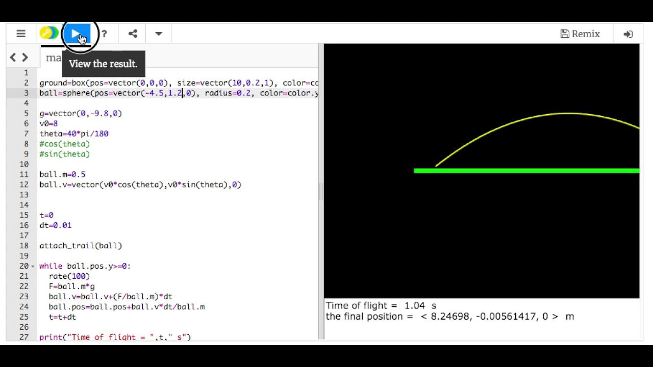 Projectile Motion Example with Python