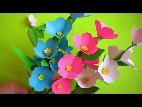 Paper Flower Stick Diy Paper Craft Handcraft Diy How To Make