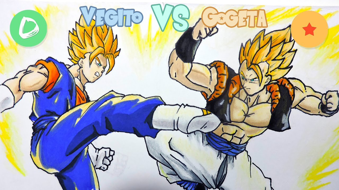 Dragon Ball Gogeta Cuerpo Completo Para Dibujar: Dibujando A Vegito SSJ1 VS Gogeta SSJ 1