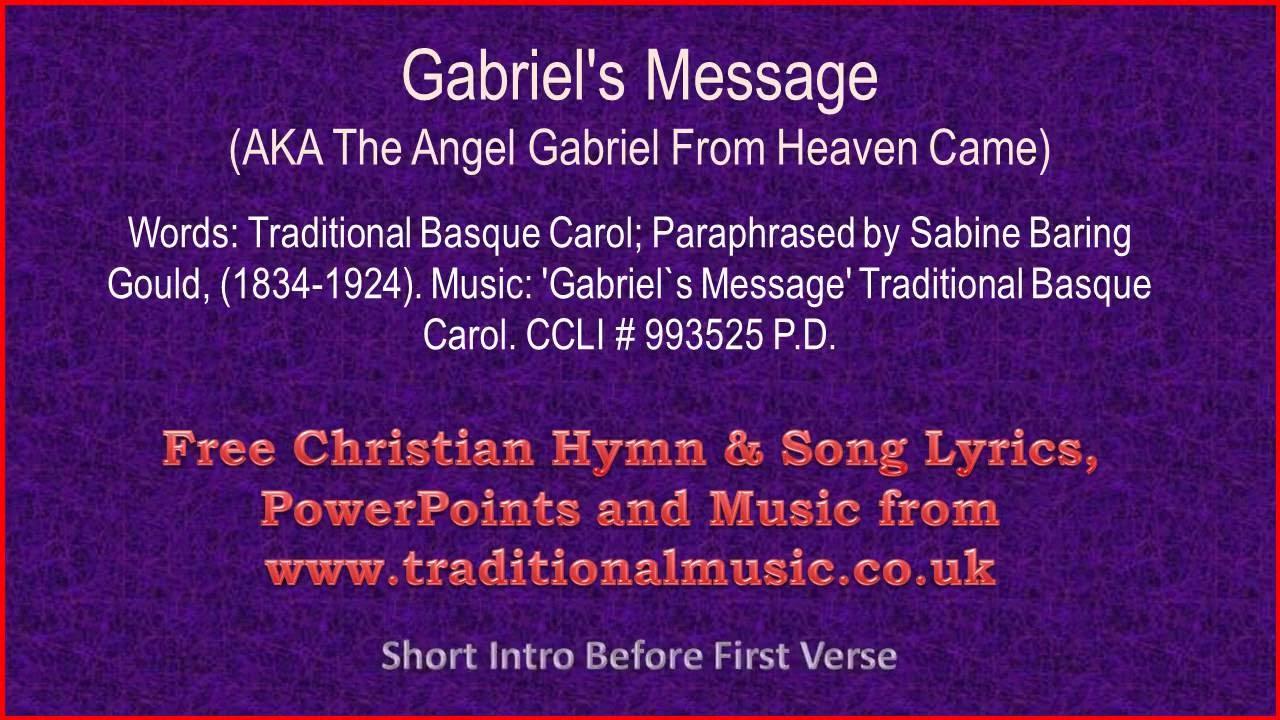 Gabriel's Message - Christmas Carols Lyrics & Music - YouTube