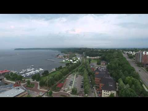 Burlington, Vermont... Gargoyles And Lake Champlain...Drone View