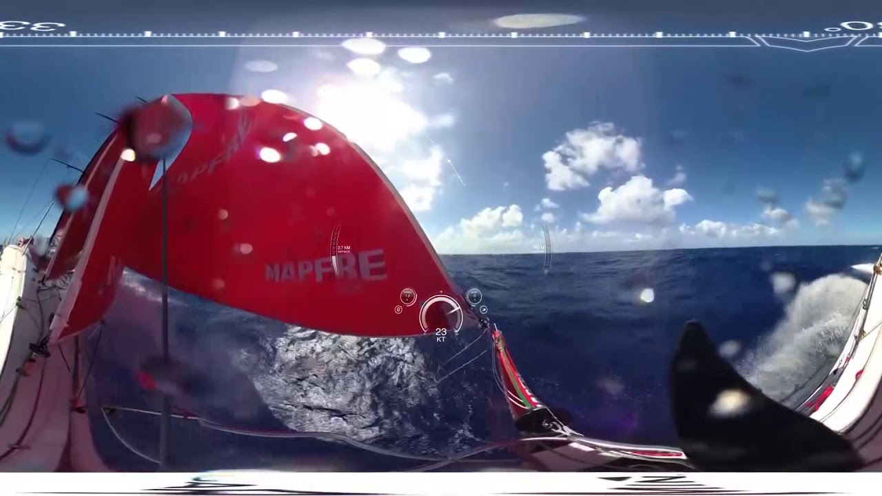 360 VR view of MAPFRE surfing on starboard. Rob on the helm, Xabi trimming. 360 shot from the bow. Someone runs forward to adjust the angle of the camera mounted on the bow pulpit.