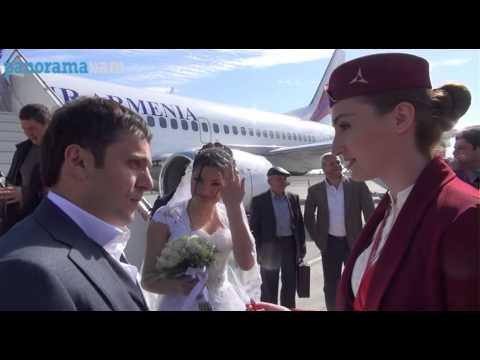 «Air Armenia» օդանավի առաջին ուղևորների  հարսանիքը սկսվեց օդանավակայանում