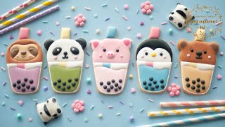 How to decorate Kawaii BUBBLE TEA  BOBA TEA Cookies  5 ADORABLE DESIGNS!