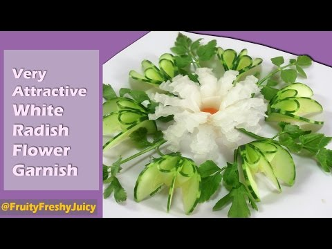 Very Attractive White Radish Flower Garnish - Vegetable Art & Designs
