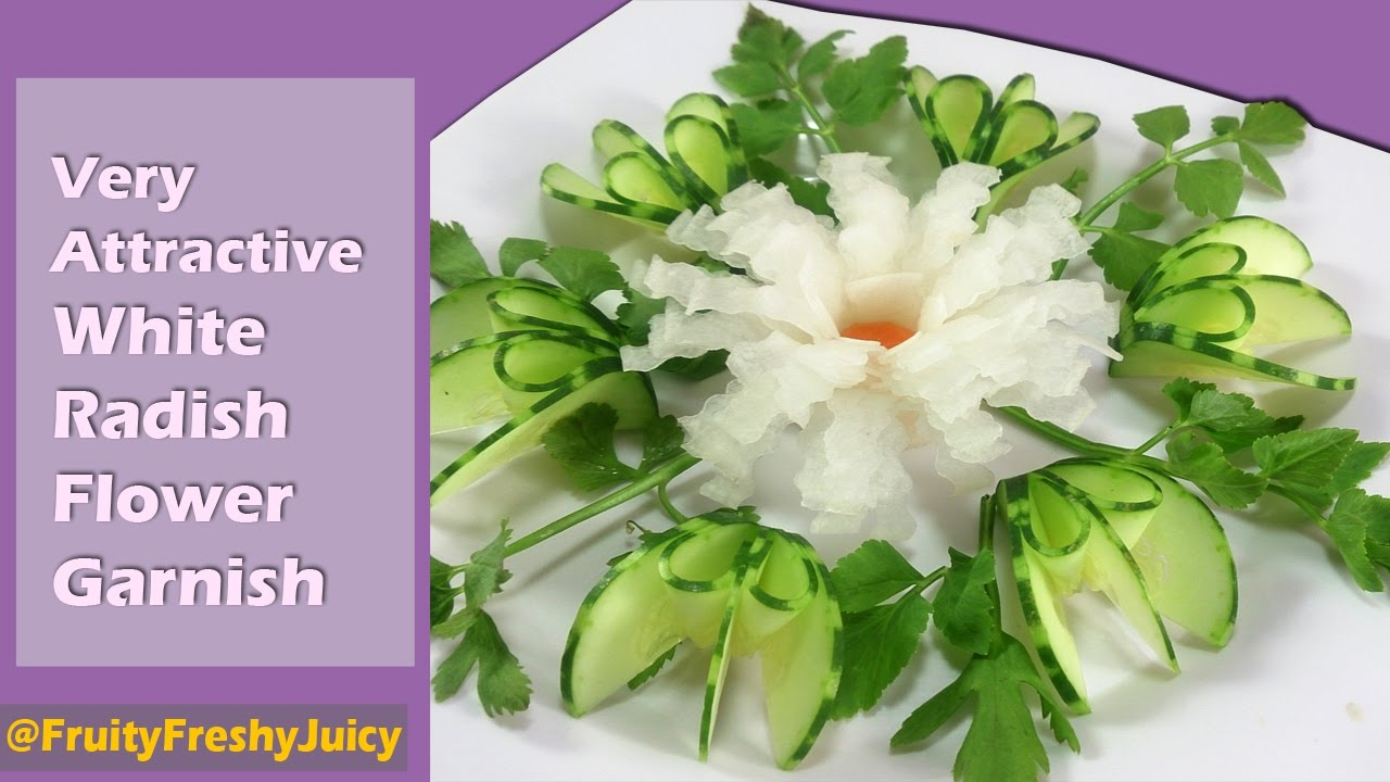Very Attractive White Radish Flower Garnish - Vegetable Art & Designs