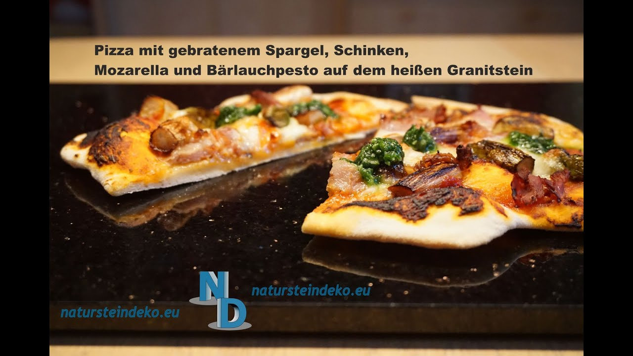 pizza mit spargel auf dem pizzastein aus granit youtube. Black Bedroom Furniture Sets. Home Design Ideas