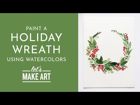 Holiday Wreath - Watercolor Tutorial with Sarah Cray thumbnail