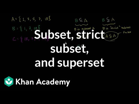 Subset, strict subset, and superset | Probability and Statistics | Khan Academy