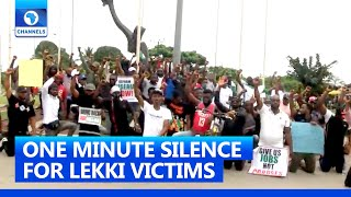 #ENDSARS Protesters In C/Rivers Observe One Minute Silence As They Mourn Victims Of Lekki Shootings