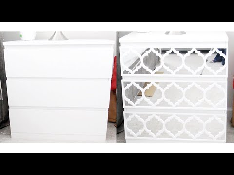 DIY IKEA Malm Drawer Chest Makeover - Mirrored Furniture