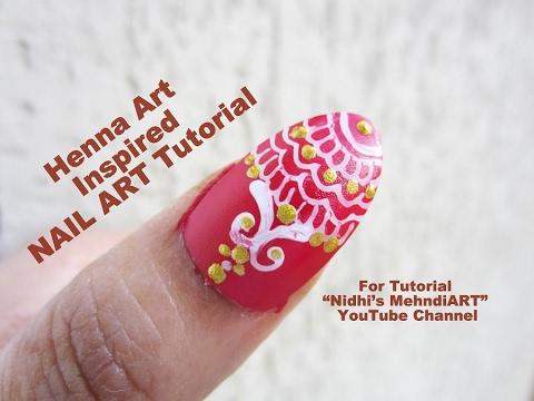 Henna Mehndi Nail Art : Henna mehndi art inspired nail tutorial for beginners youtube