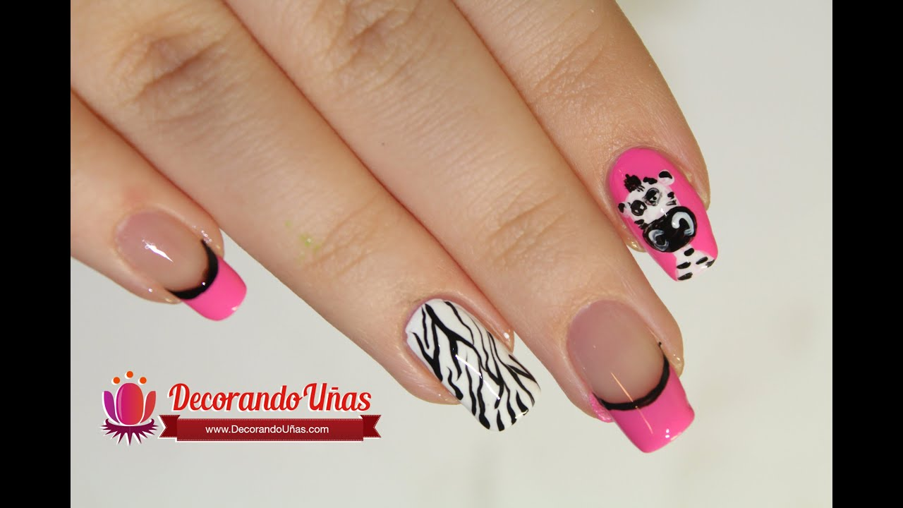 Uñas decoradas con cebras - Animal print nail DIY - YouTube