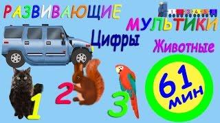 Развивающие мультики для детей. 61 минута. Изучение цифр, мультики про животных.