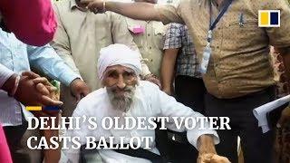 Delhi's oldest voter goes to polls in 2019 Indian general election