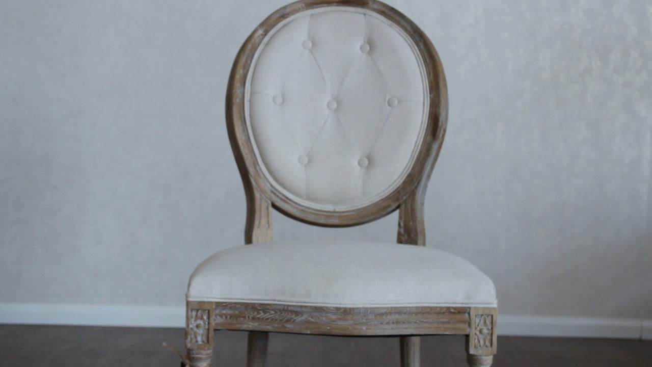 French Louis Round Back Linen Upholstered Dining Chair By Timeless Home