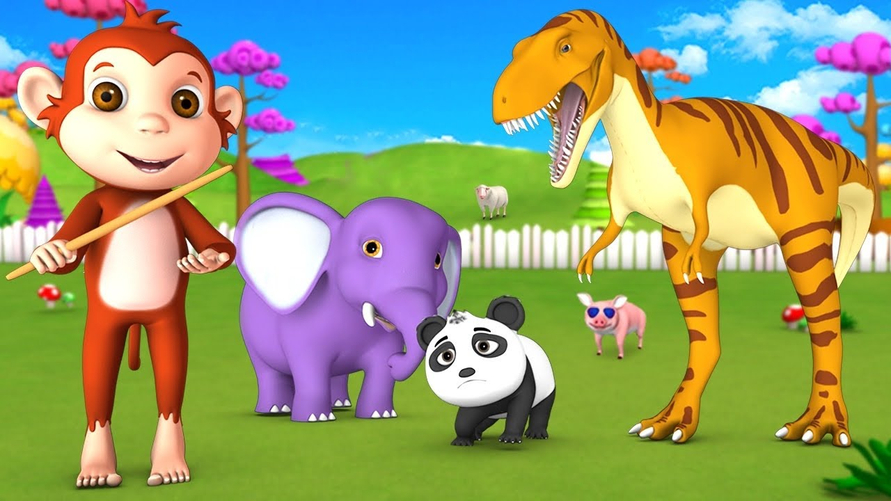 Brave Monkey Vs Dinosaur - Saves Gorilla and Barn Animals in Forest 3D Funny Animals Comedy Videos