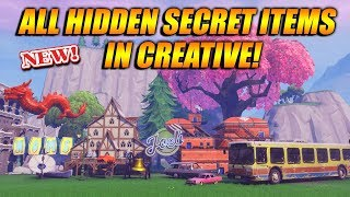 ALL HIDDEN AND SECRET ITEMS IN FORTNITE CREATIVE!! EVERY SECRET ITEM IN CREATIVE MODE!