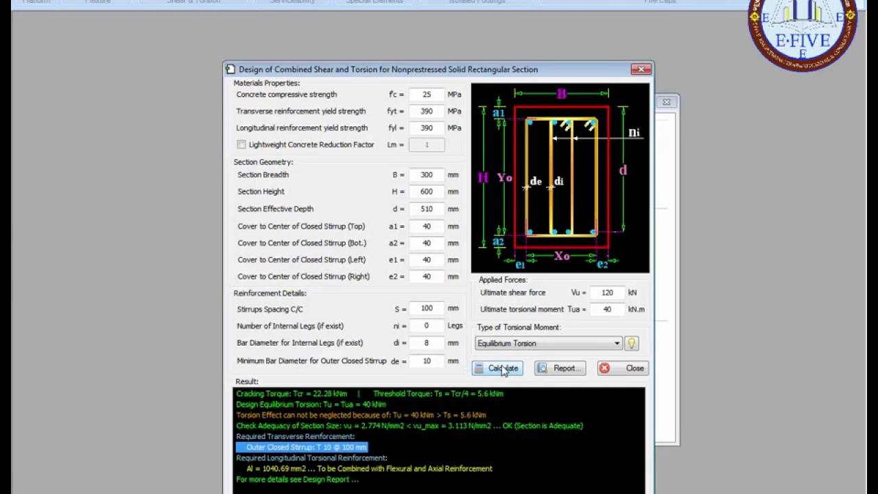 Design Combined Shear and Torsion for Reinforced Concrete Beam