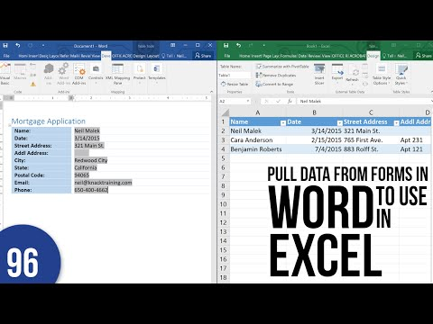 Exporting Word Form Data to Excel