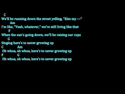 Avril Lavigne -Here's To Never Growing Up (Chords and lyrics Video)