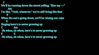 Video Avril Lavigne -Here's To Never Growing Up (Chords and lyrics Video) download MP3, 3GP, MP4, WEBM, AVI, FLV Juli 2018