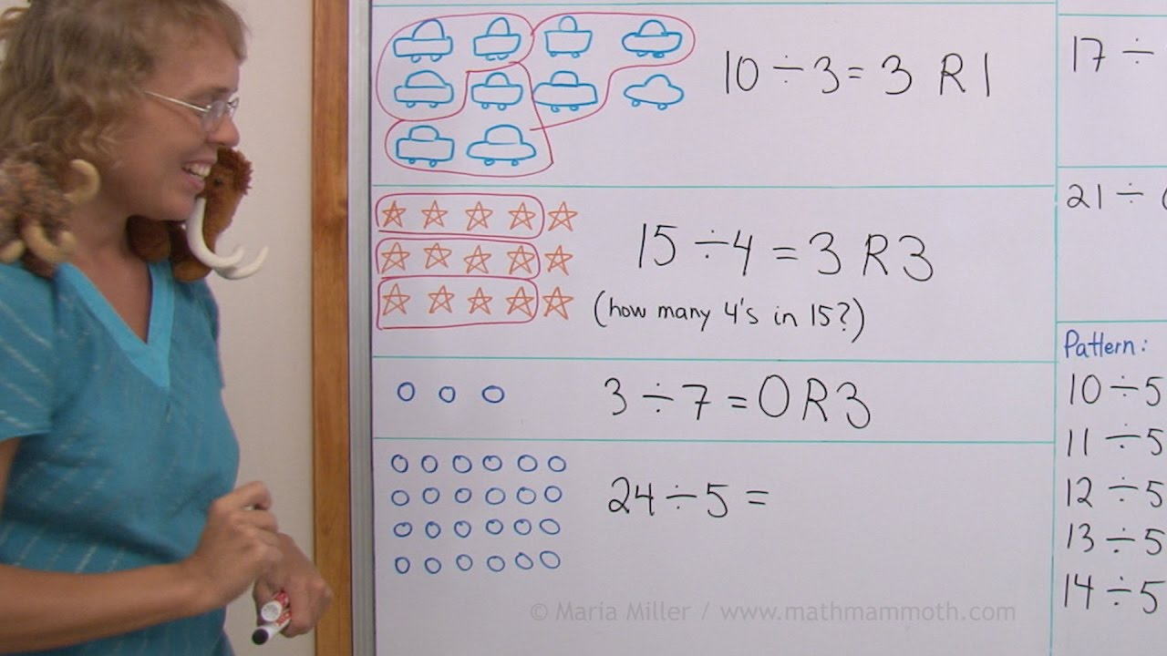 small resolution of Division with remainders (not exact division) - 3rd grade math - YouTube