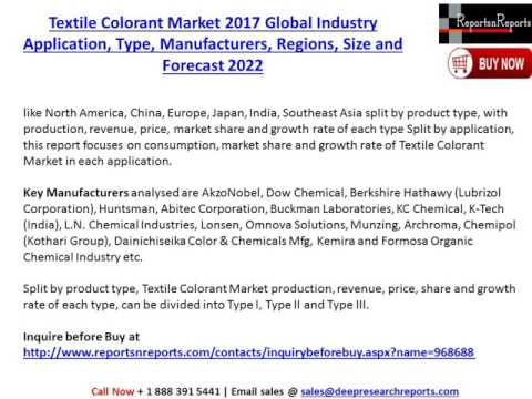 Textile Colorant Market Global Industry Application, Type,  Regions, Size & Forecast 2022