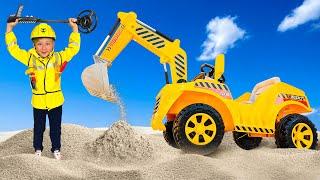 बच्चों के लिए सैंड वीडियो में एक ट्रैक्टर के साथ सेन्या और पापा स्लीप प्ले