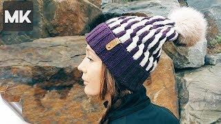 ТЕПЛАЯ ШАПОЧКА НА ЗИМУ / Мастер-класс по вязанию женской шапки спицами со схемой