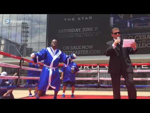 Former Cowboys defender George Teague spars with boxer Pablo Cesar Cano