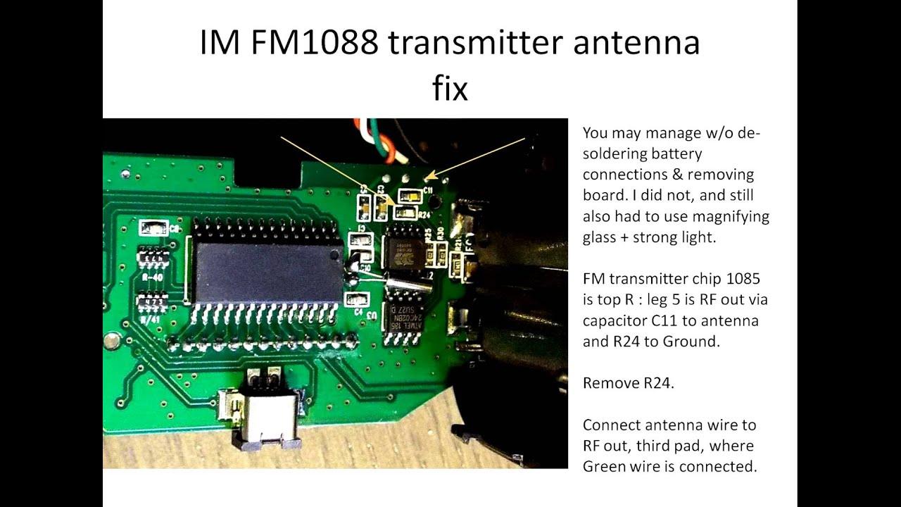 Fm Antenna Wire Circuit Board Center Bit Binary Diagram Tradeoficcom Transmitter Im Fm1088 Hack Youtube Rh Com Sony Tv