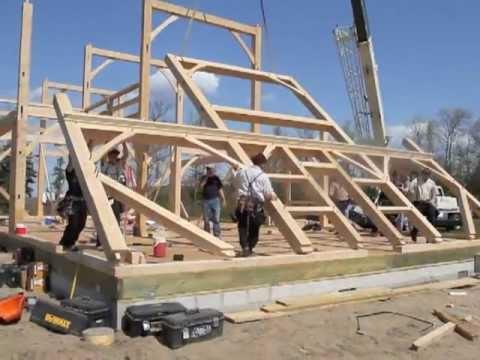 Amish barn raising at crow creek farm goshen nj youtube for Amish barn construction