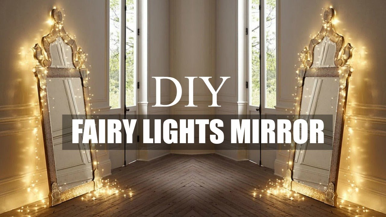 Diy room decor fairy light mirror youtube for Room decor with fairy lights